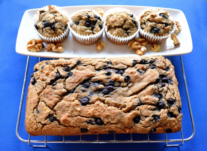 Gluten and dairy-free banana blueberry muffins