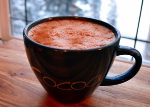 Dairy-free hot chocolate with almond milk