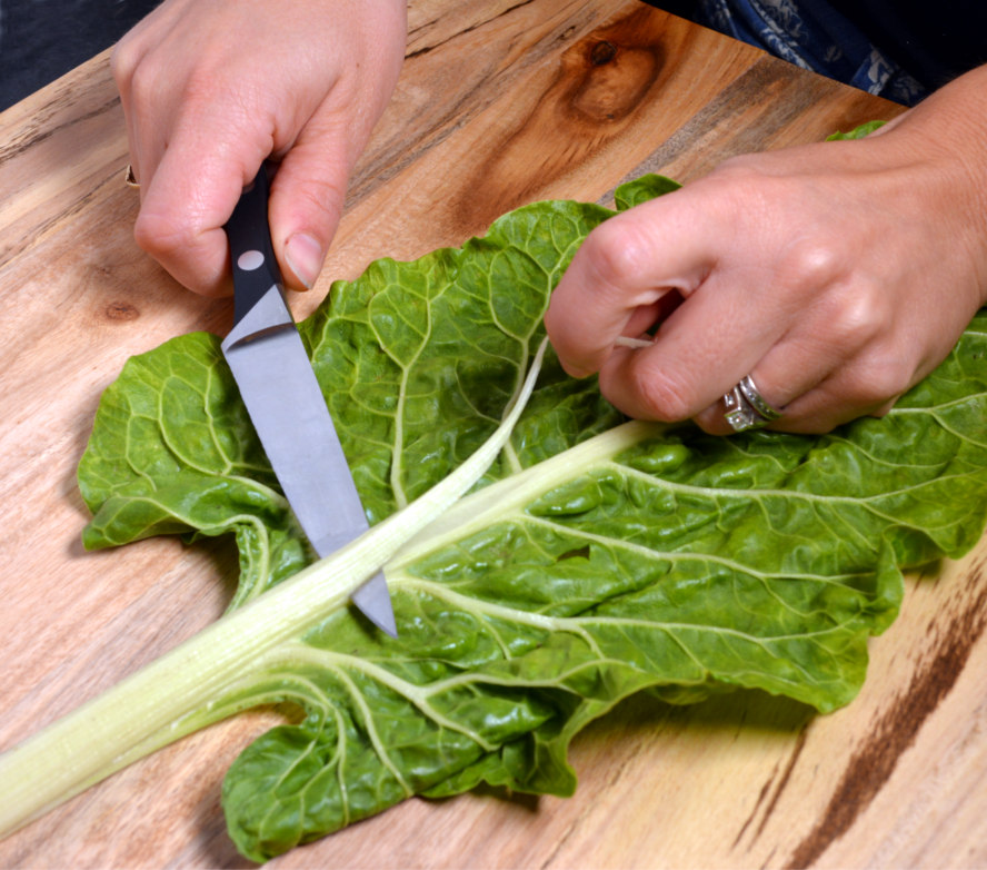 How to trim swiss chard leaves
