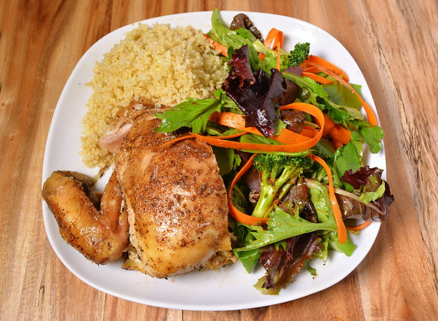 Slow cooked chicken with salad