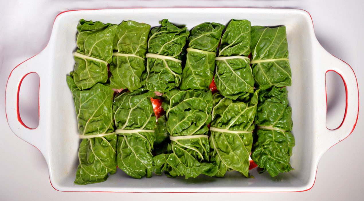 Swiss chard rolls with turkey and rice