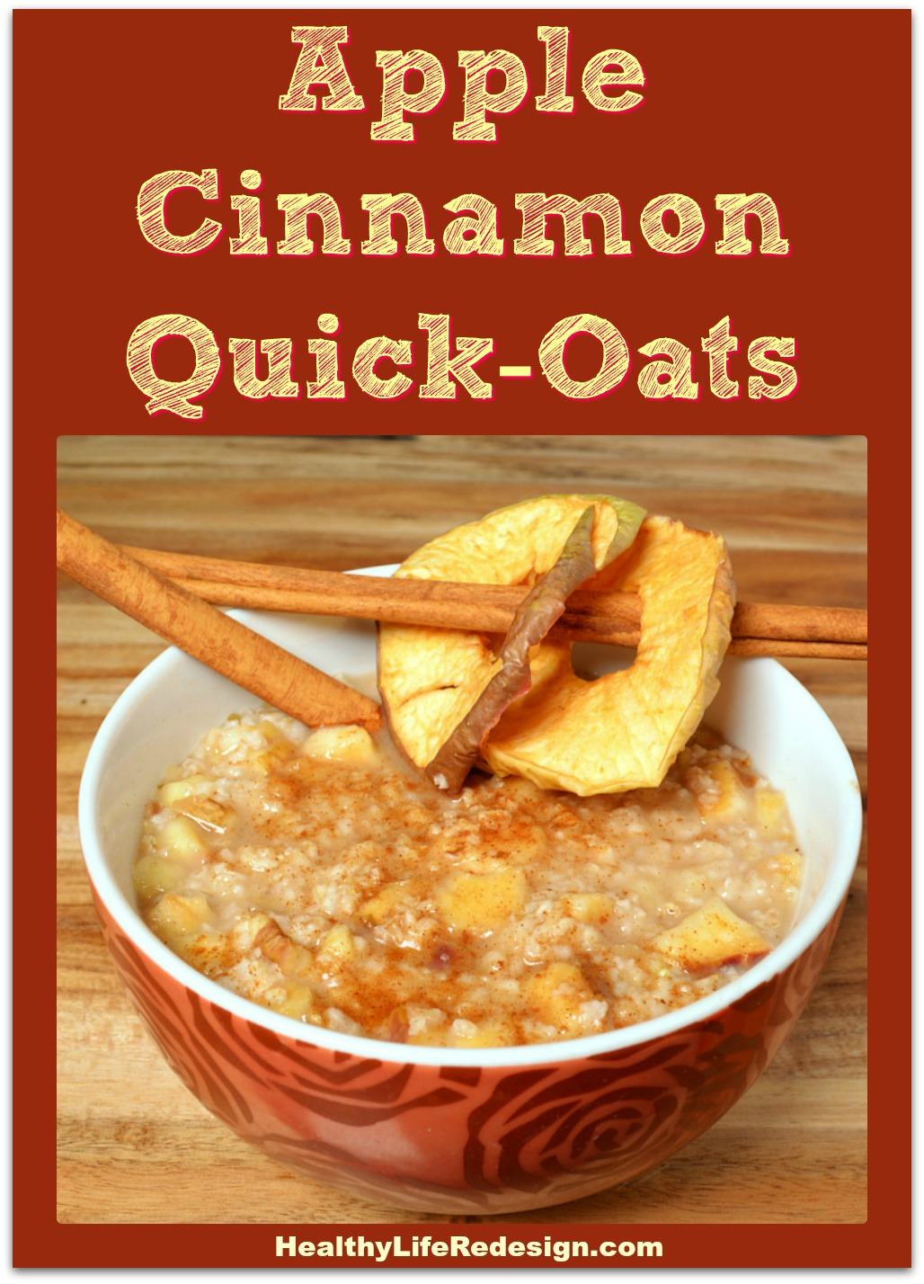 Apple Cinnamon Quick Oats - Take this with you as a healthy breakfast for hotel travel, camping or road trips! Also makes a quick and delicious breakfast at home. HealthyLifeRedesign.com