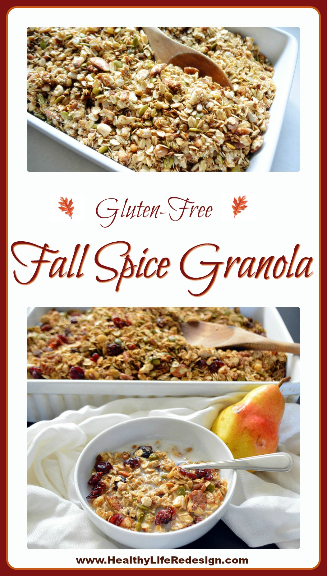 Gluten-free Fall Spice Granola - Naturally sweetened and infused with flavours of cinnamon, nutmeg, cardamom and ginger.