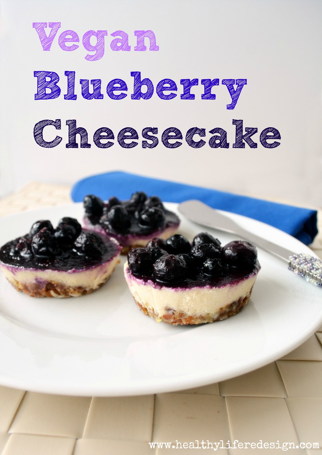 Delicious dairy-free blueberry cheesecake