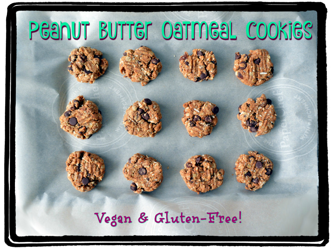 Chocolate Peanut Butter Oatmeal Cookies - gluten-free, vegan