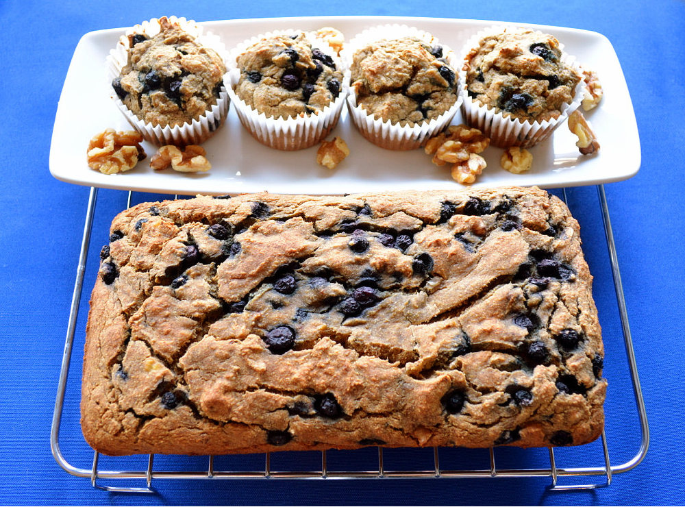 Banana blueberry muffins gluten free road trip snack