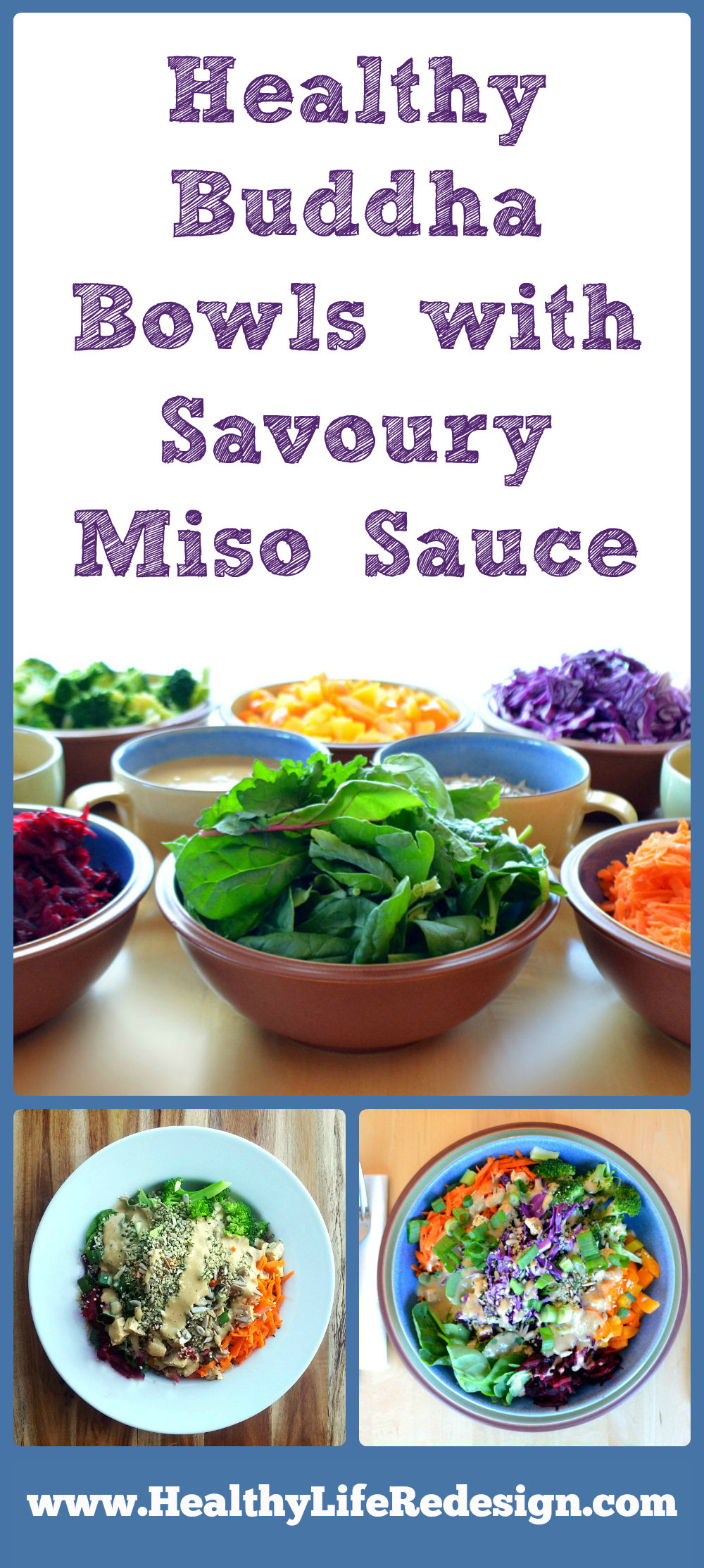 Healthy Buddha Bowl with Savoury Miso Sauce. Easy packed lunch or healthy dinner recipe! Gluten-free, vegan and delicious!