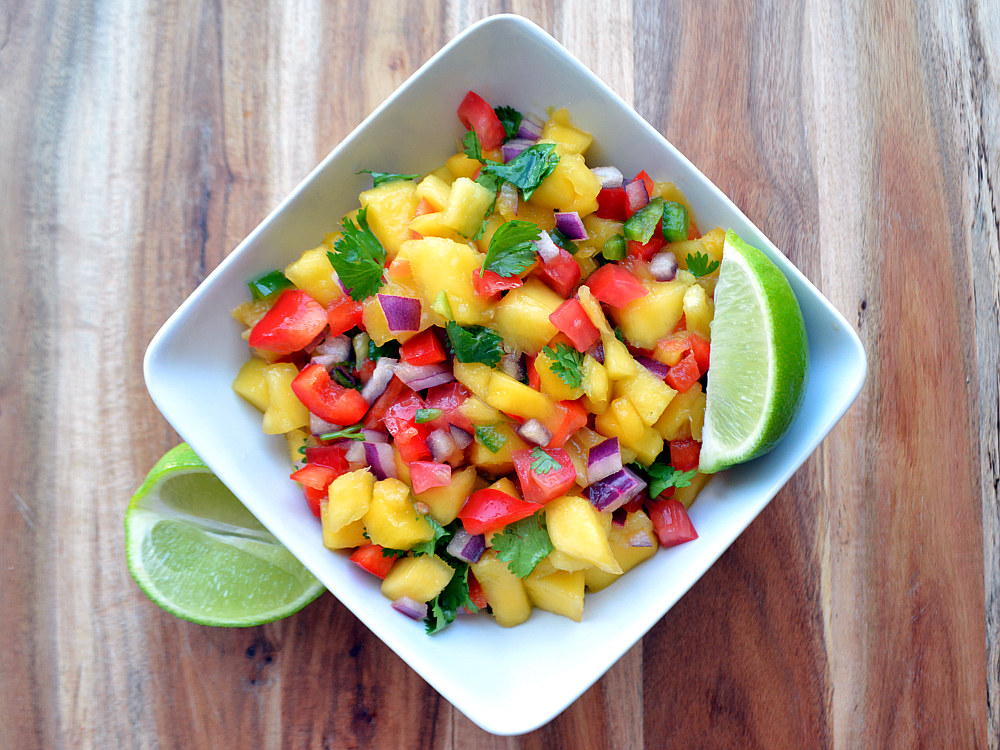 Tropical Mango Salsa - Sweet and delicious topping for burgers, chicken, fajitas or healthy dip for tortilla chips!
