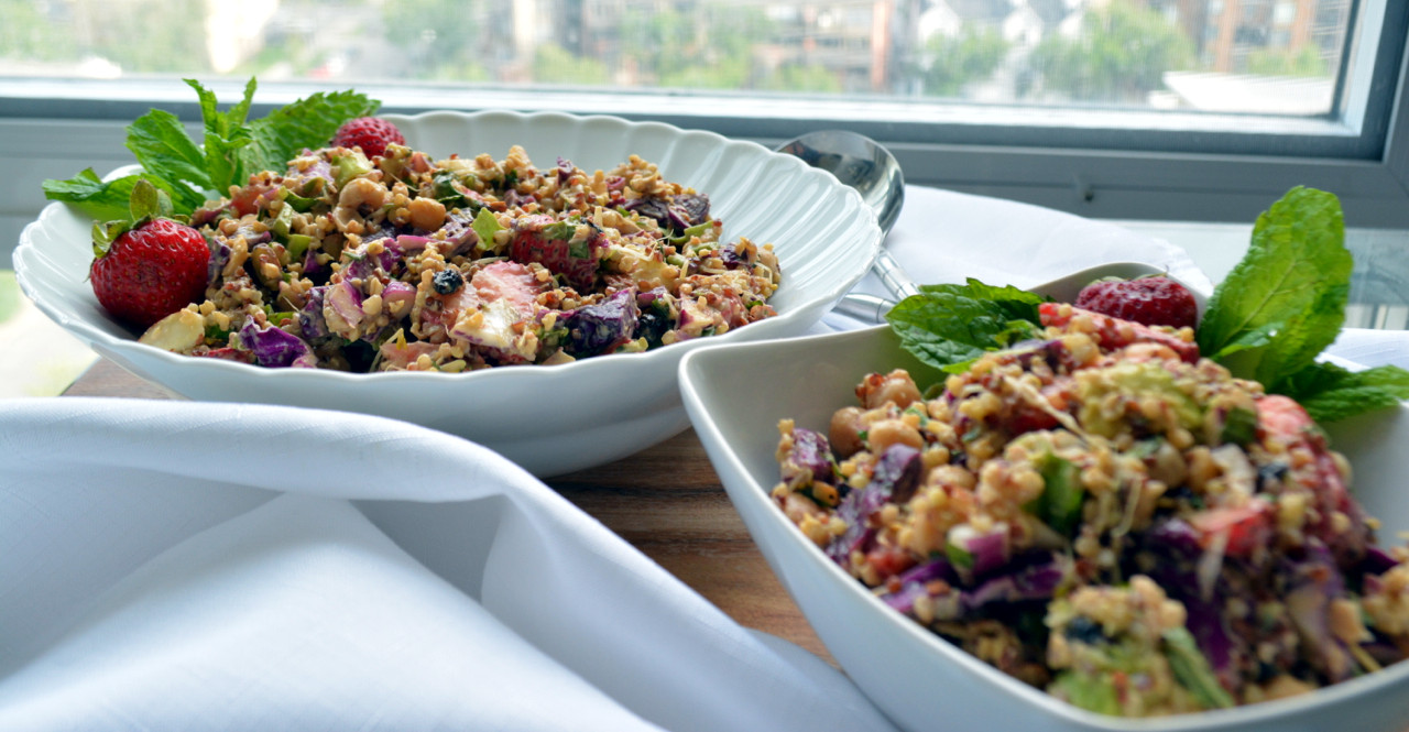 Strawberry Mint Chickpea Salad - Gluten free and Vegan!