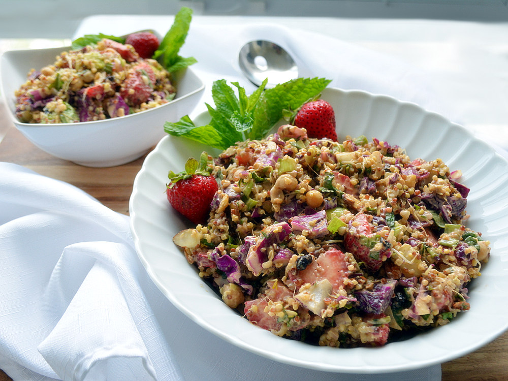 Strawberry Mint Chickpea Salad - Healthy Life Redesign