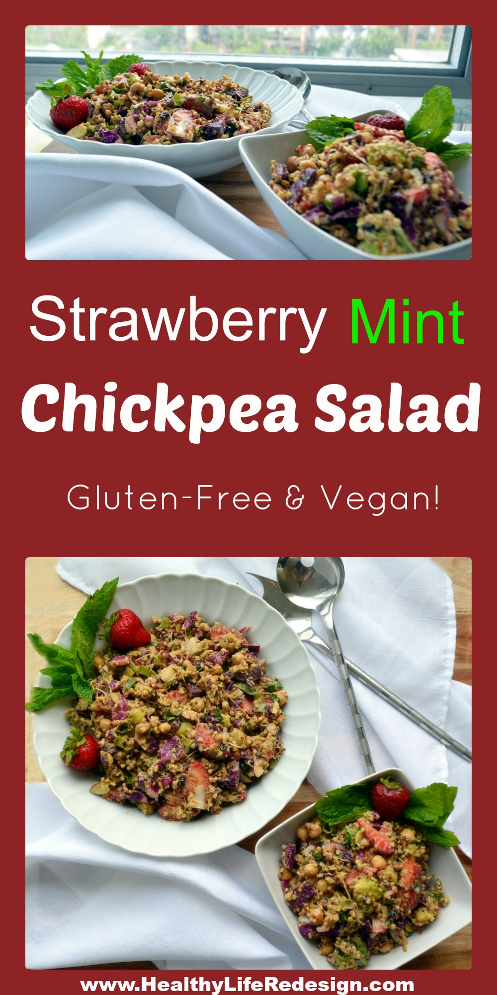 Strawberry Mint Chickpea Salad - Perfect for a picnic, camping or a road trip! Also makes a delicious gluten and dairy-free packed lunch!