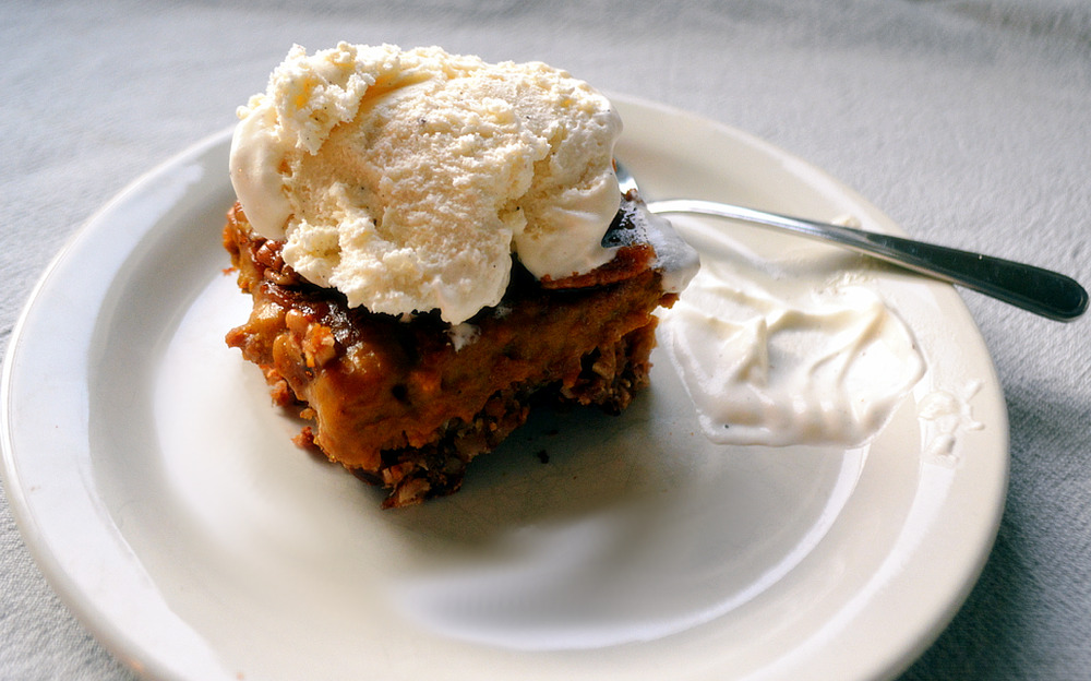 Dairy and gluten-free Pecan Pumpkin Pie Bars with Coconut Ice Cream