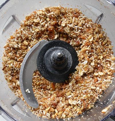 Pecan Pumpkin Pie Bar crust with coconut, oats, dates, pecans