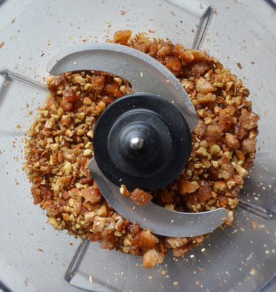 pecans-and-dates in food processor for Pecan Pumpkin Pie Bar Crust