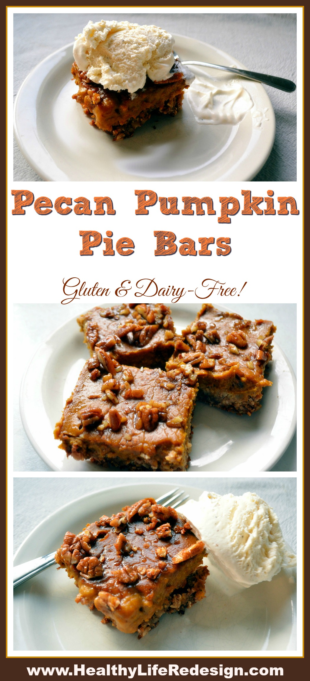 Pecan Pumpin Pie Bars - Delicious gluten and dairy-free dessert! Top with coconut ice cream for an indulgent delight!