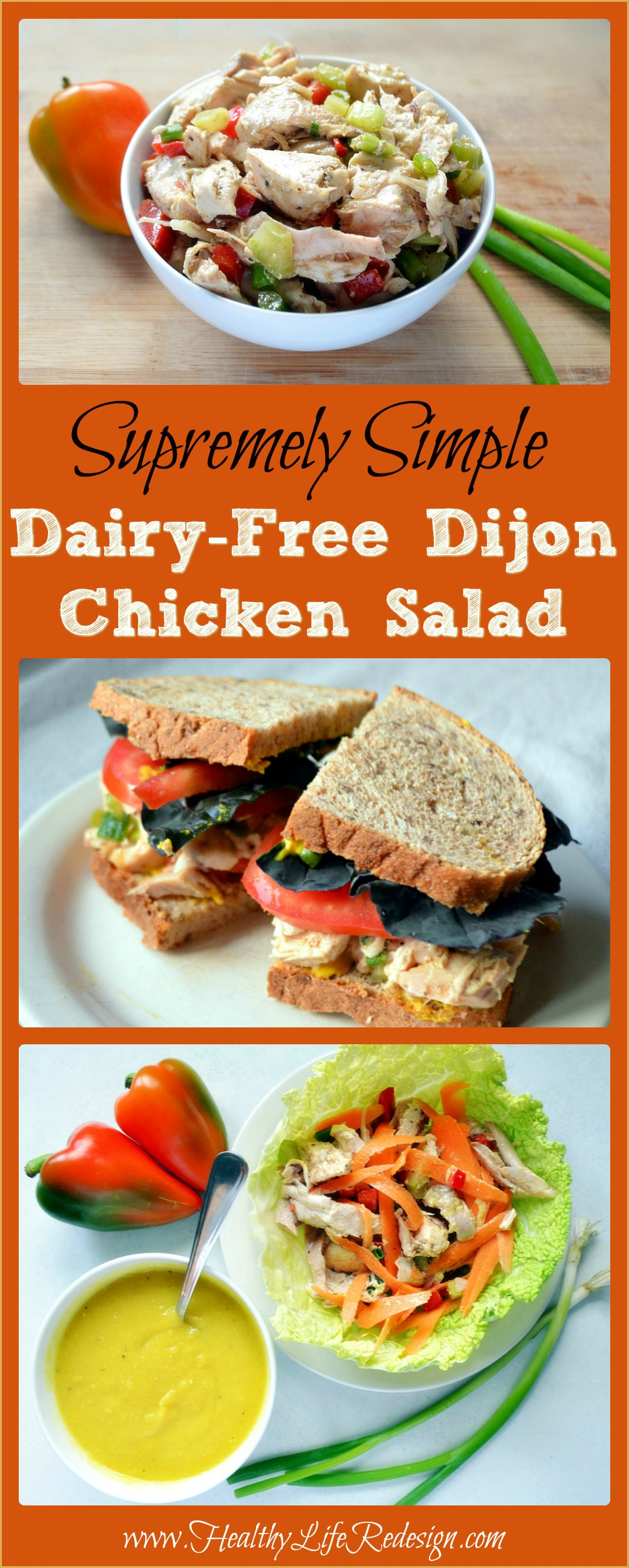 This Simple Dairy-free Dijon Chicken Salad makes for a healthy and delicious lunch or dinner! One easy recipe provides 4 ways to enjoy it!