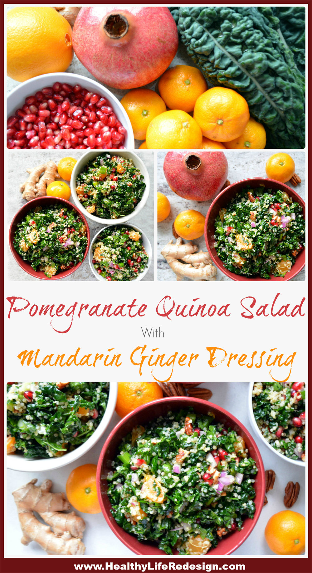 Festive Pomegranate Quinoa Salad with Mandarin Ginger Dressing - The perfect healthy lunch or holiday salad! Gluten and Dairy-Free!