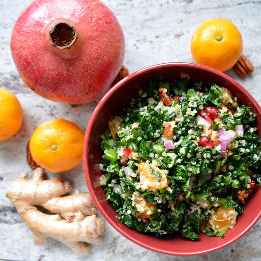 Festive Holiday Pomegranate Quinoa Salad with Mandarin Ginger Dressing