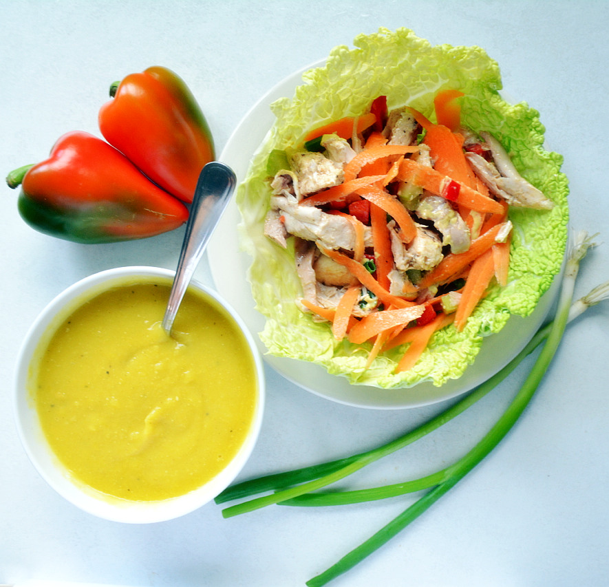 Gluten-free, dairy-free chicken salad wrap and soup. Makes for a delicious, nutritious lunch or dinner!