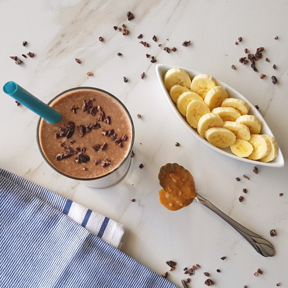 Chocolate Peanut Butter Banana Milkshake (Dairy-free)