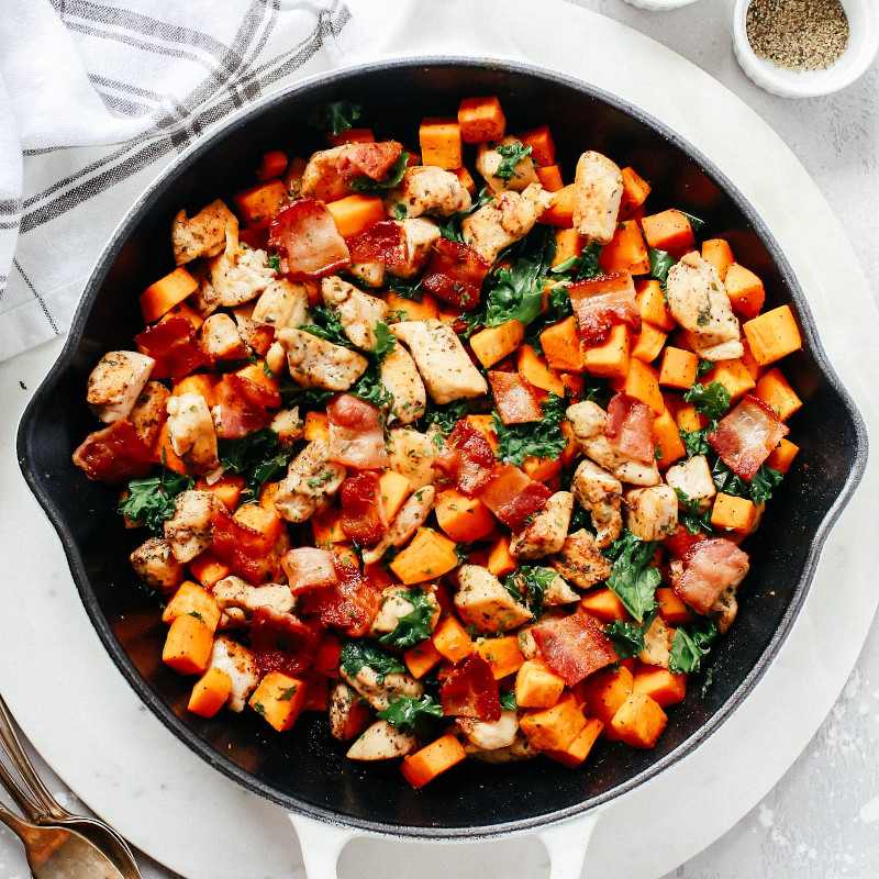 Sweet Potato Chicken Kale Skillet