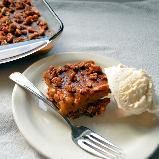 Pecan Pumpkin Pie Bars - One of 25 Delicious Gluten and Dairy-Free Healthy Potluck Dishes!
