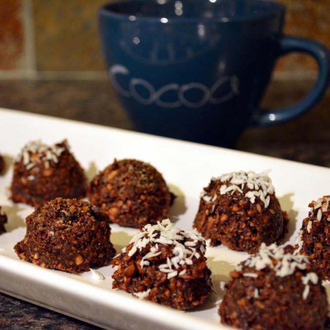 Chocolate Hazelnut Truffles with Coconut