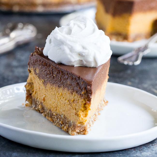 Dairy-Free Holiday Desserts: Chocolate Pumpkin Cashew Cheesecake