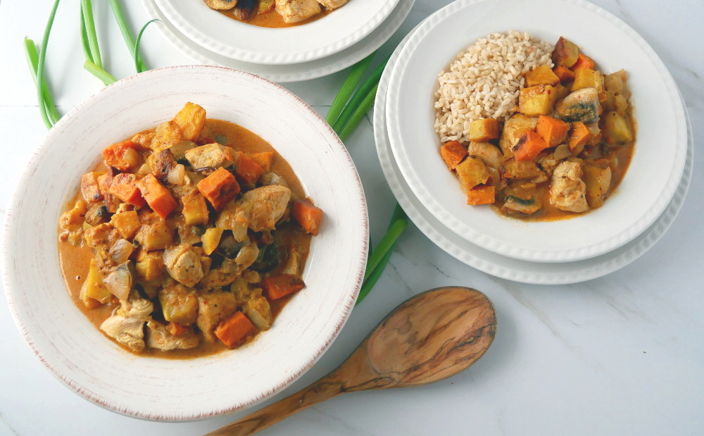 Roasted Sweet Potato And chicken Curry