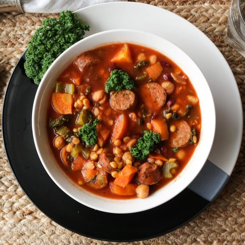 Healthy Slow Cooker Recipes: Lentil Soup with Sausage and Kale